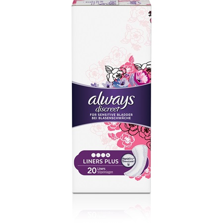 67cb409c664 ALWAYS DISCREET Plus incontinence liners