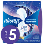 Always Infinity Size 5 Extra Heavy Overnight Pads with Wings, Unscented