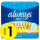 Always Maxi Fresh Size 1 Regular Pads Without Wings, Scented