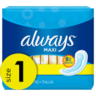 Always Maxi Size 1 Regular Pads Without Wings,Unscented