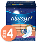 Always Maxi Fresh Size 4 Overnight Pads With Wings, Scented