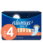 Always Maxi Size 4 Overnight Pads Without Wings, Unscented