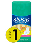 Always Ultra Thin Fresh Size 1 Regular Pads With Wings, Scented
