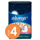 Always Ultra Thin Fresh Size 4 Overnight Pads With Wings, Scented