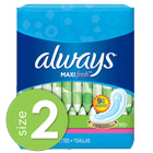 Always Maxi Fresh Size 2 Long Super Pads Without Wings, Scented