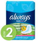 Always Maxi Fresh Size 2 Long Super Pads with Wings, Scented