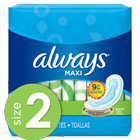 Always Maxi Size 2 Long Super Pads Without Wings, Unscented