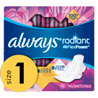 Always Radiant Pads, Size 1, Regular, Light Clean Scent