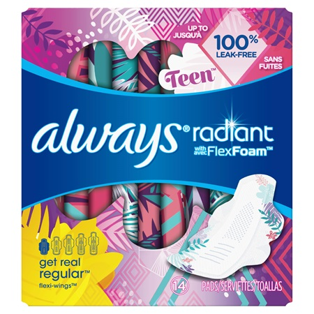 06d75076638c24 Always Radiant Teen Regular Pads with Wings ...