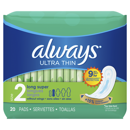 Always Ultra Thin Size 2 Super Pads Without Wings | Always on
