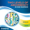 Tampax Pearl Active Duo Regular Super Two Levels of Absorbency